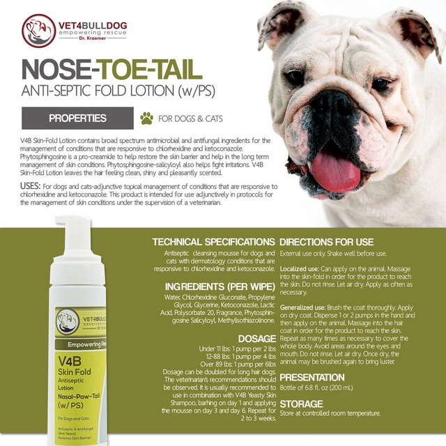 V4B Skin Fold Antiseptic Lotion for Bulldogs and French Bulldogs handout
