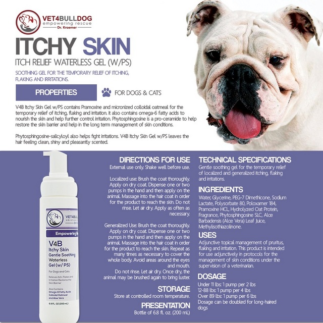 V4B Itchy Skin Medicated Gel for Bulldogs and French Bulldogs handout
