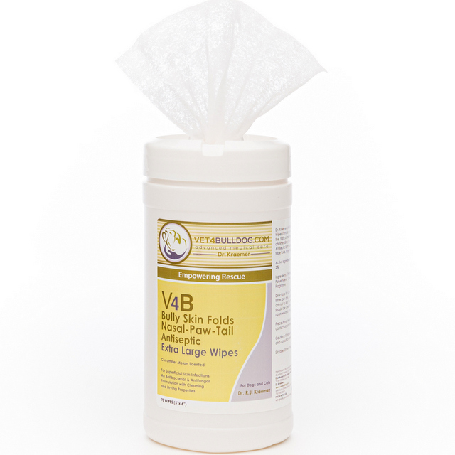 V4B Skin Fold Antiseptic Wipes for Bulldogs and French Bulldogs
